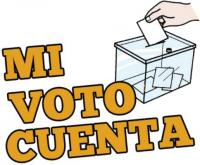 logo mi voto cuenta con mano echando un sobre a una urna