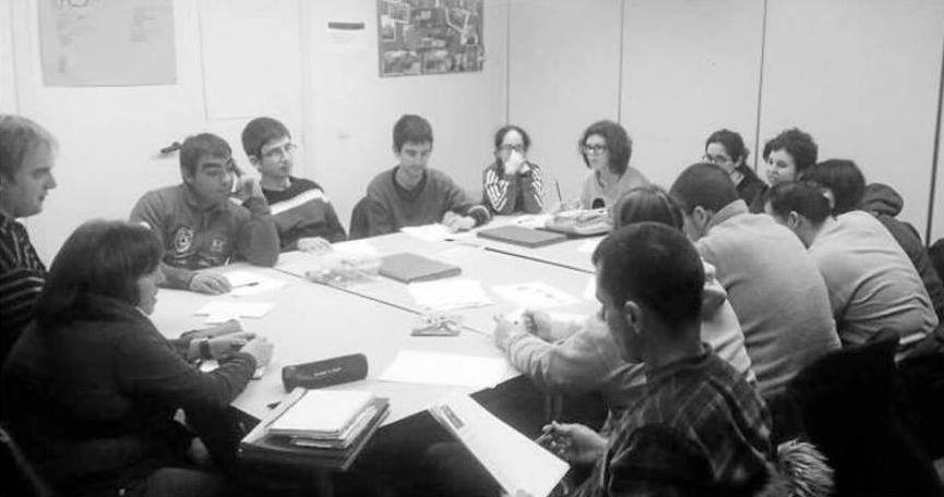 grupo de trabajo de personas, foto en blanco y negro