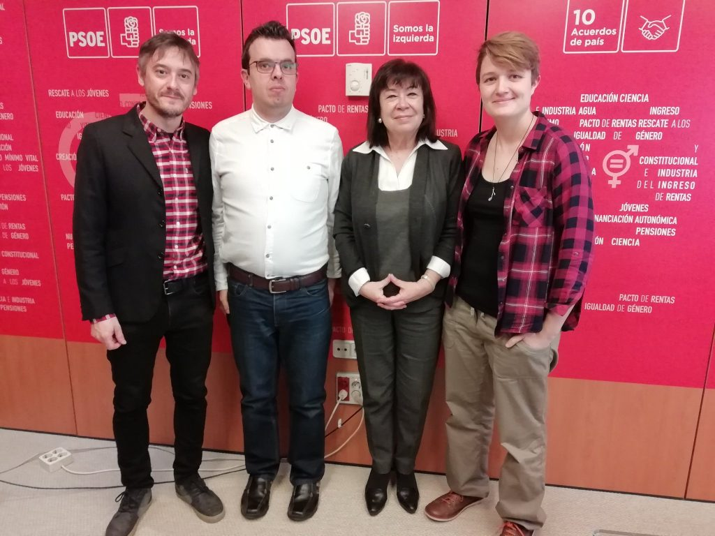 Fermín Núñez, Antonio Hinojosa, Cristina Narbona y Olga Berrios en la sede del PSOE