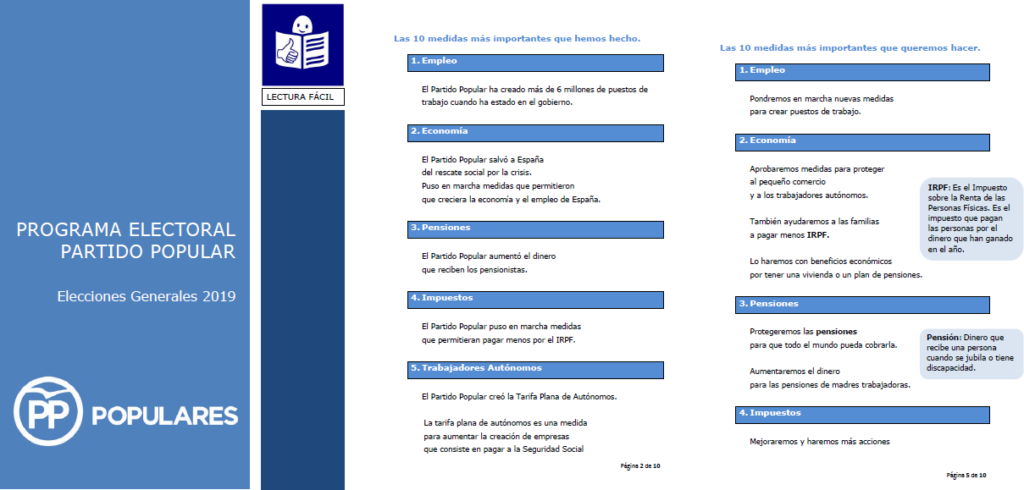 portada programa electoral pp - 3 páginas