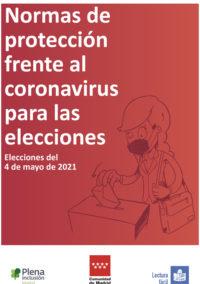 portada Normas de protección frente al coronavirus para las elecciones. Elecciones 4 de mayo de 2021